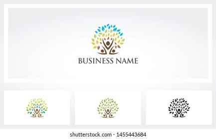 Parent Children Tree Family Logo