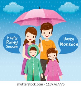 Parent And Children Under Umbrella Together In The Rain, Children Wearing Raincoat, Rainy Day, Monsoon, Season, family, Relationship, Lifestyle