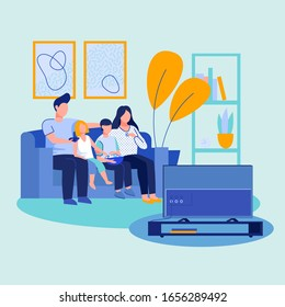 Parent couple, boy and girl watching TV. Parents with two kids, popcorn sitting together on couch, enjoying movie. Vector illustration for home interior, living room, entertainment concept