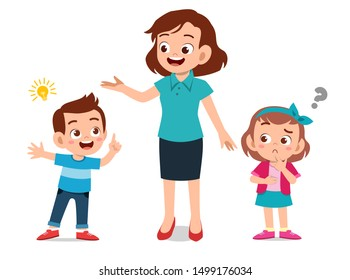 Kid Talking Teacher Stock Vectors Images Vector Art Shutterstock