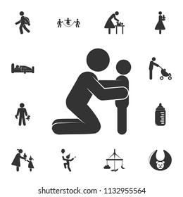 the parent holds the child icon. Detailed set of children life. Premium graphic design. One of the collection icons for websites, web design, mobile app on white background