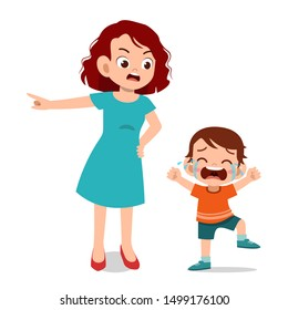 parent with kid child cry illustration