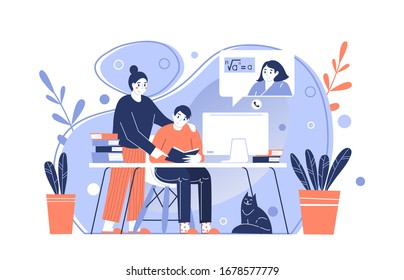 The parent teaches the child at home. Remote online distance education. Home schooling by tutor or online teacher. Isolation at home during the Coronavirus epidemic. Stay at home.