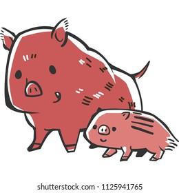 Parent-child of wild boar(woodblock print design)