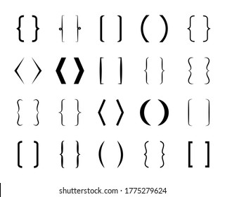 Parenthesis. Curly bracket for text. Brace icon. line and frame for typography and punctuation. Vintage design shapes. Square signs for school. Hand drawn symbol. Set of graphic calligraphy. Vector.