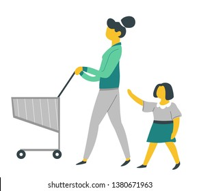 Parenthood and child care mother and daughter on shopping with supermarket cart vector trolley or pushcart mom and kid buying food bringing up infant little girl and mommy daily routine weekend