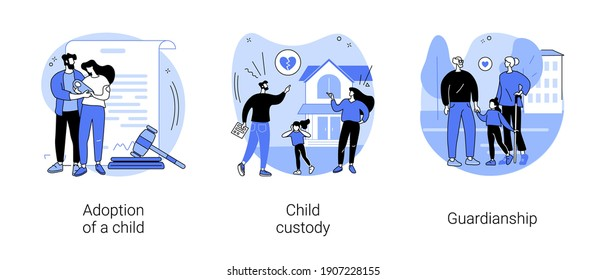Parenting abstract concept vector illustration set. Adoption of a child, custody and guardianship, foster care parent, family conflict, orphanage, adoptive parents, separation abstract metaphor.