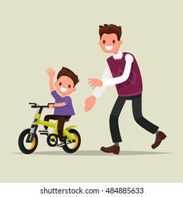 Parenting. The father teaches his son to ride a bicycle. The first bike. Vector illustration of a flat design