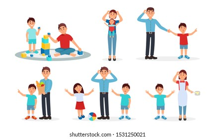 Parenting Lifestyle Vector Illustrations. Frustrated Parents Playing With Their Kid