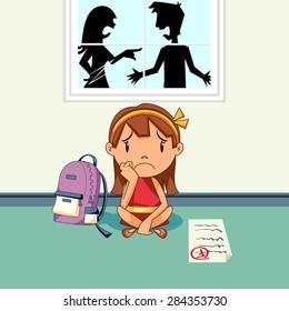 Parents arguing, sad girl, school problems