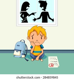 Parents arguing, sad kid, school report