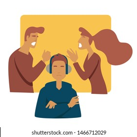 Parents arguing teen problem stress mother father and son in headphones vector boy ignoring family, quarrels teenager listening to music puberty growing up depression and frustration shouting