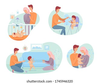 Parents with baby set. Young mom and dad looking at their baby in crib. Father feeds son. Kid learns to walk. Family hugs, love. Happy parenthood, childhood concept. Vector character illustration