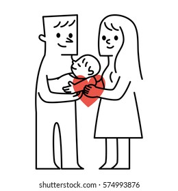 Parents and baby.vector illustration