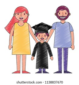 parents with boy graduted avatars characters