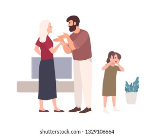 Parents brawling and quarreling in presence of daughter. Husband shouting at wife or offending her. Problem or conflict in family. Domestic abuse, unhappy marriage. Flat cartoon vector illustration.