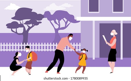 Parents bringing kids to elementary school wearing face masks and maintaining physical distancing during a pandemic, EPS 8 vector illustration