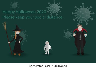 Parents and child dressed up as ghosts to welcome Halloween by wearing a mask and alcohol spray for disinfecting.Happy Halloween 2020 Please keep your social distance.