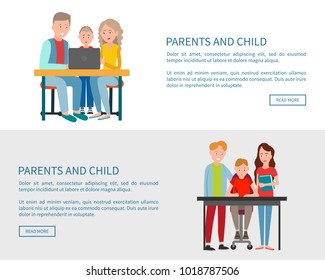 Parents and child sitting in front of open laptop watching movie or doing homework together. Family on chairs at table study with help of computer vector