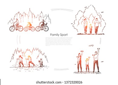 Parents with child training together, kid cycling, jogging, skiing with mother and father, workout banner. Family sport, healthy lifestyle concept sketch. Hand drawn vector illustration