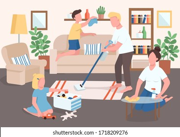 Parents and children cleaning flat color vector illustration. Kid tidying up toys. Mother wash furniture surfaces. Father and son do cleanup. Family 2D cartoon characters with interior on background