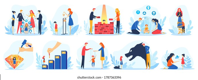 Parents and children parenting problems vector illustration set. Cartoon flat father mother characters have problematic communication with child, unhappy abuse parenthood concepts isolated on white