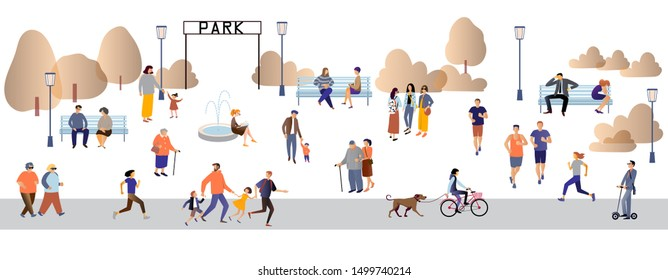 Parents and children, people with disabilities, elderly and young people spend time outdoors: jogging, walking , chatting, riding bicycles, walking with dogs Flat cartoon vector illustration.