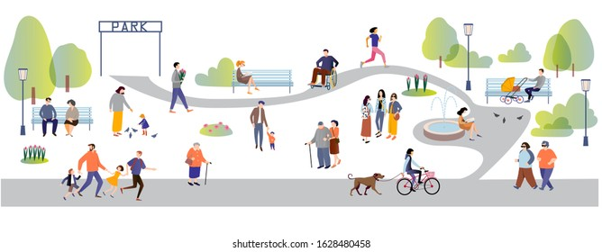 Parents and children, people with disabilities, elderly and young people spend time outdoors spring and summer : jogging, walking , chatting, riding bicycles, walking with dogs . Flat cartoon vector i