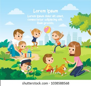 Parents with children play in the park. Summer activities. Vector landscape.