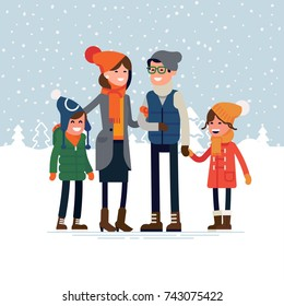 Parents with children standing together in snowy winter outdoors. Happy family ready for winter season outdoors activity vector flat design illustration