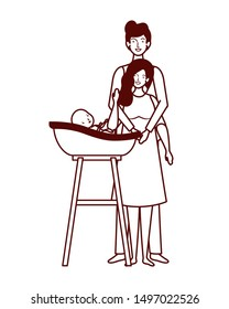 parents couple with little baby in bathtub