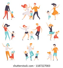 Parents dancing with their children set, kids having good time with their dads and moms vector Illustrations on a white background