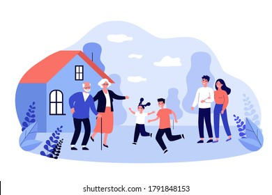 Parents and excited kids visiting grandparents. Old couple welcoming children and grandchildren at country house. Vector illustration for family, togetherness, generation concept