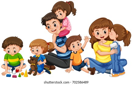 Parents and children sitting and talking (boys) | Free Cliparts | illustAC