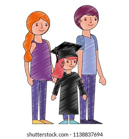 parents with girl graduted avatar character