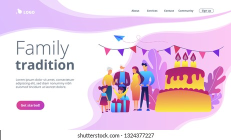 Parents, grandparents and children with presents at big cake with celebrating, tiny people. Family tradition, family reunion, home party concept. Website vibrant violet landing web page template.
