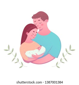 Parents holding newborn in their hands. Young family with little baby. Cute cartoon vector illustration.