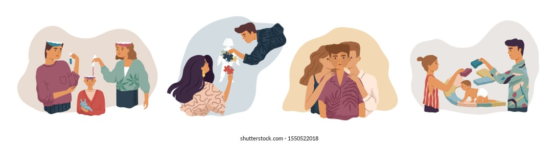 Parents influence on child development vector illustrations set. Family relationship, parenthood, childcare, parental care concepts. Mother, father sharing knowledge with kid metaphor.