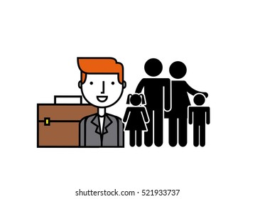 parents and kids and business man with briefcase over white background. vector illustration