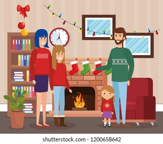parents and kids with december clothes in livingroom