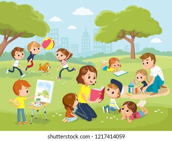 Parents with kids at the park. Mum reading book to children. Boy drawing the watercolor. Teacher reading book to children. Daddy playing with daughter.