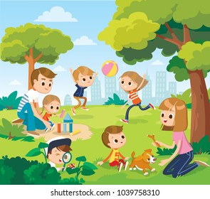 Parents with kids at the park. Vector illustration with summer background. Playing outside.
