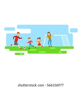 Parents And Kids Playing Football, Happy Family Having Good Time Together Illustration