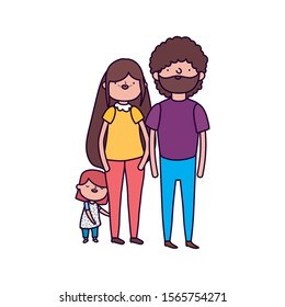 parents and little daughter family on white background vector illustration