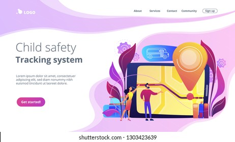 Parents looking at school bus location pin and map on tablet. Child tracking system, school bus route, child safety, security concious parents concept, violet palette. Website landing web page.