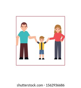 parents and son member family flat image vector illustration