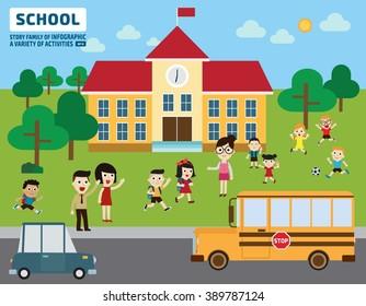 Parents take their children to school.