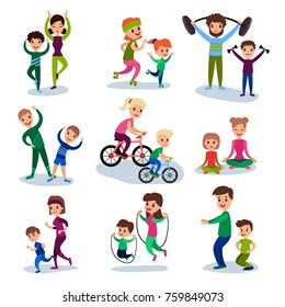 Parents and their kids training and doing sportive exercises together set, sport family concept vector Illustrations