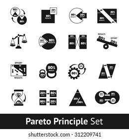 Pareto diagram black and white icons set isolated vector illustration