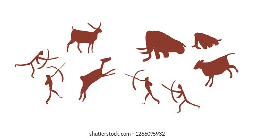 Parietal art or cave painting depicting group or tribe of Stone age people or hunters hunting deers and mammoths. Silhouettes of prehistoric men attacking wild animals. Flat vector illustration.